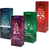 12 Christmas Wine Bottle Gift Bags - With Glitter by Gift Boutique