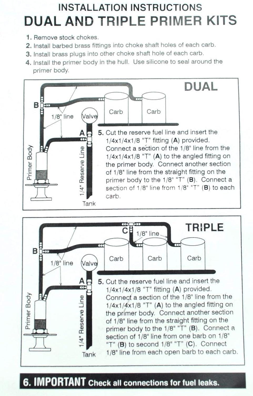 TRIPLE CARB PRIMER KIT Compatibility with Keihin 38 40 Jet Ski /& YAMAHA /& KAWASAKI