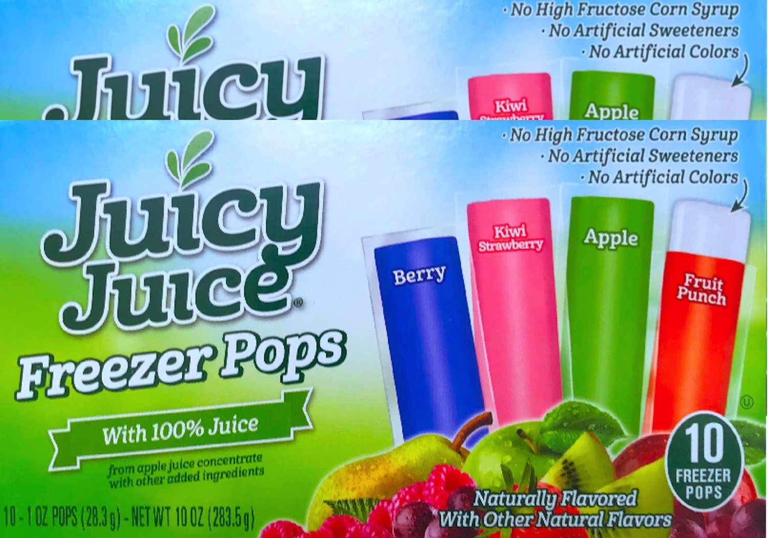 New Juicy Juice Freezer Pops With 100% Juice NO High Fructose Corn Syrup, No Artificial Sweeteners or Colors Net Wt 10 Oz (2)