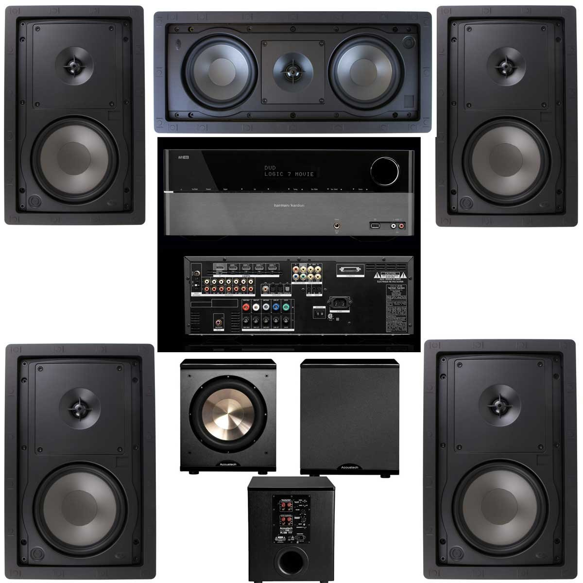 Klipsch R-2650-W In Wall 5.1 Home Theater System(R-2502-W)-FREE PL-200-Harman Kardon 1650 by Klipsch