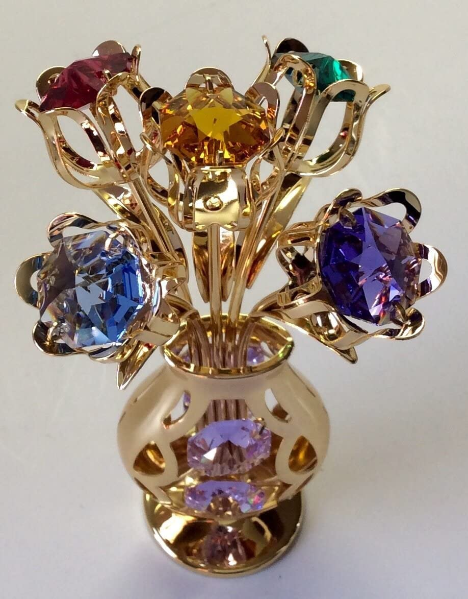 24k Gold Plated 5 Flowers in Vase Free Standing with Mixed Studded Crystals