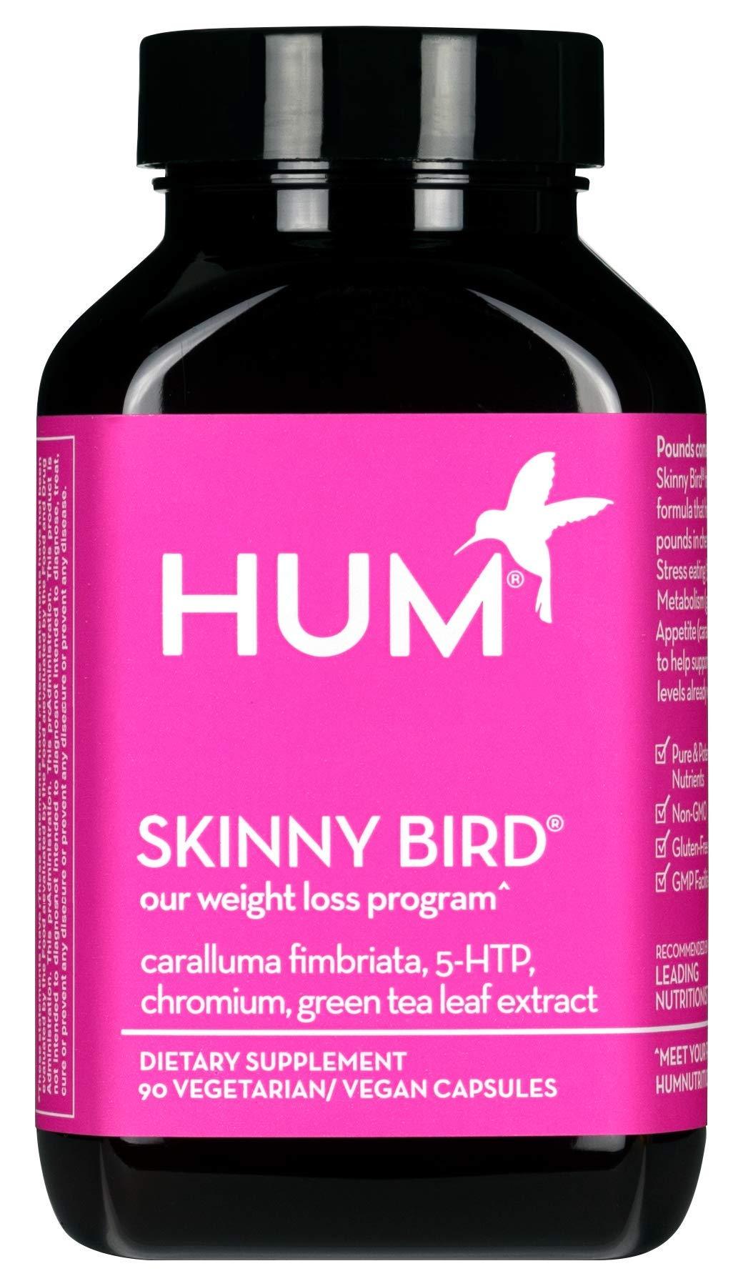 HUM Skinny Bird - Weight Management Support with Green Tea Extract, 5-HTP, Chromium & Caralluma Fimbriata (90 Vegan Capsules) by HUM