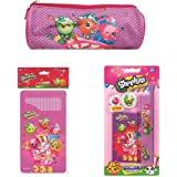 Shopkins Girls Stationery Set for School - Pencil Case , Colouring Pencils, Ruler, Eraser, Notepad Pack
