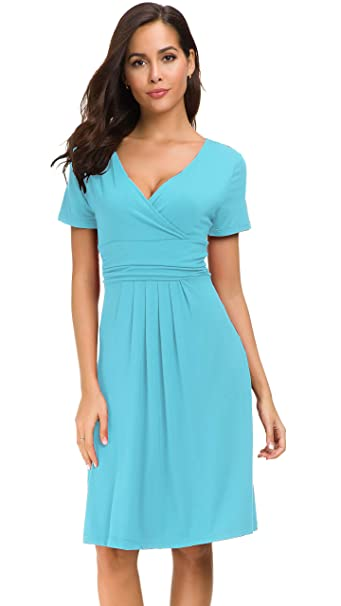 35470716ad97 Afibi Short Sleeve Ruched Empire Waist V-Neck Fit and Flare Cocktail Dress  (Small
