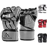 Brace Master MMA Gloves UFC Gloves Boxing Gloves for Men Women Leather More Paddding Fingerless Punching Bag Gloves for Kickb