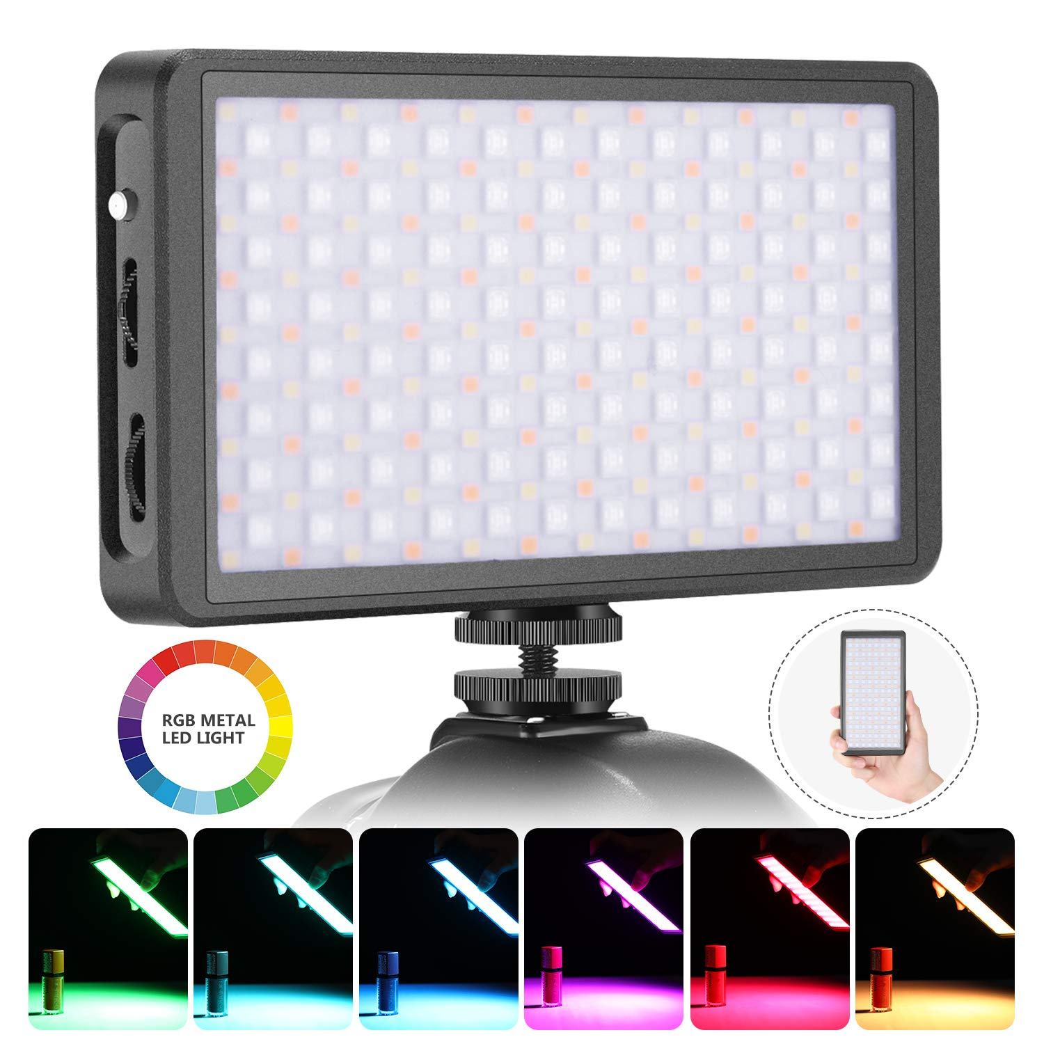 Neewer F7 RGB LED Light for Camera Camcorder, Full Color Rechargeable Pocket Size LED Video Light CRI97/2500K-9000K/0-360 Adjustable Colors/20 Applicable Situation/Aluminum Alloy Shell with Magnet by Neewer
