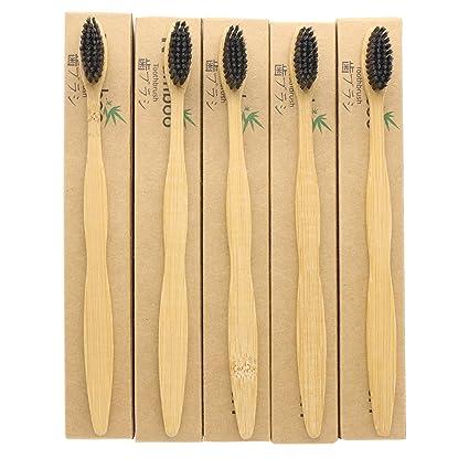5 piezas n-amboo medio ambiente Biodegradable cepillo de dientes de bambú | eco-