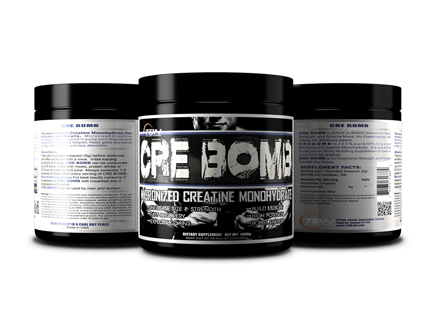 Amazon.com: TBN Labs Cre Bomb (Micronized Creatine Monohydrate) #1 Voted by Amazon and Ebay For the best solubility and Results. Low to No Bloating, ...