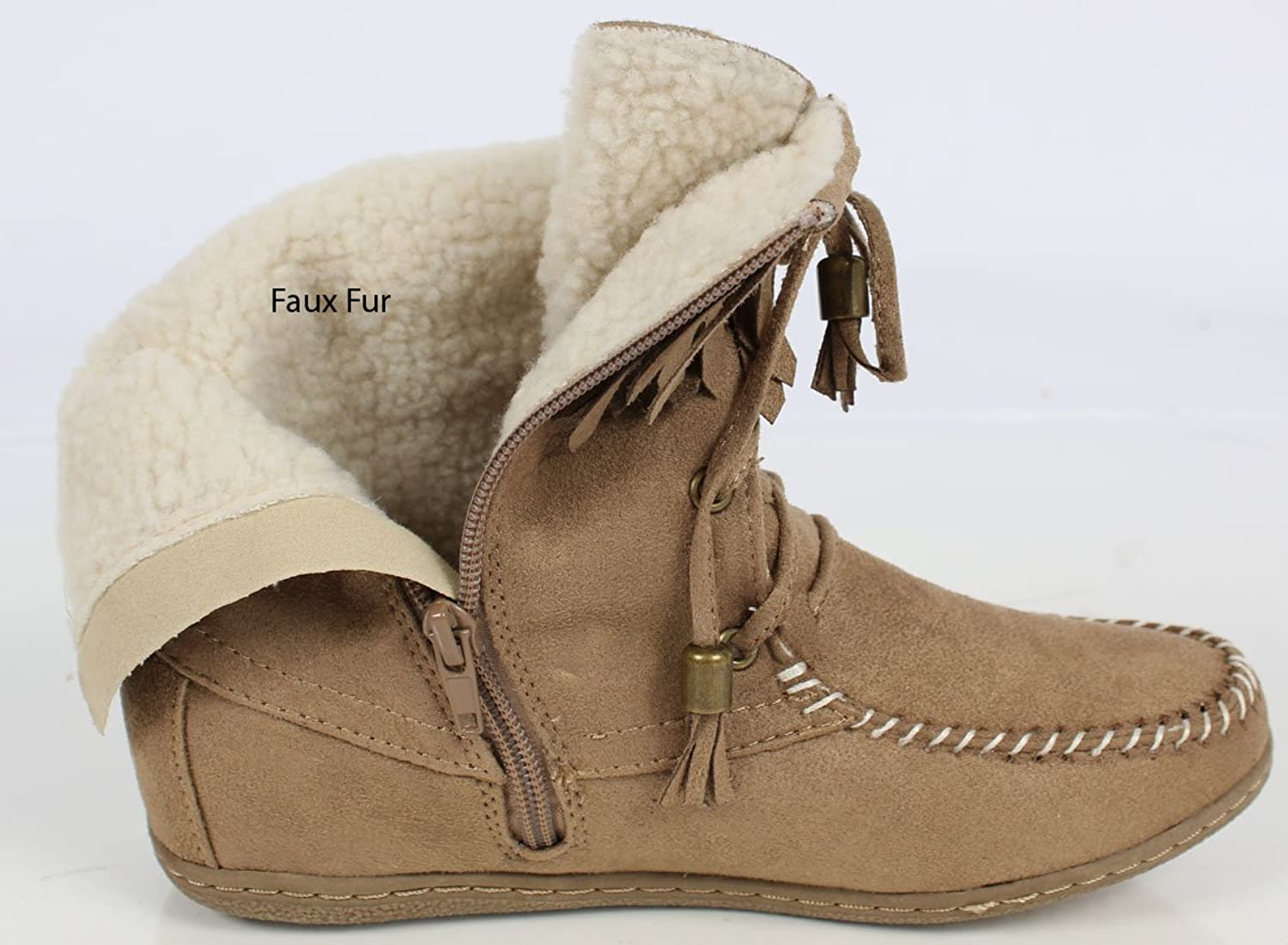 Soda Women's Tying Mukluk Faux Fur Suede Moccasin Ankle Boots