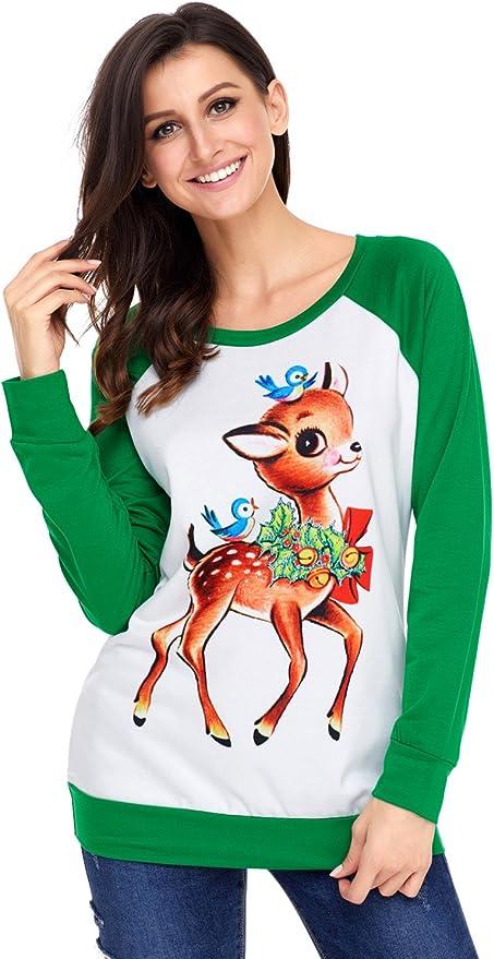 Las mujeres reno y aves camisa verde de manga larga de la Navidad: Amazon.es: Ropa y accesorios