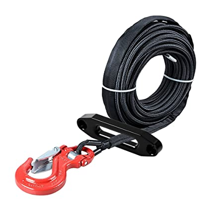 Red Winch Fairlead Car ATV UTV Ramsey KFI Cables Astra Depot 50ft x 1/4 inch Green Rock All Heat Guard Synthetic Winch Rope Cable 7000LBS w/Red Heavy Duty Half-Linked Hook
