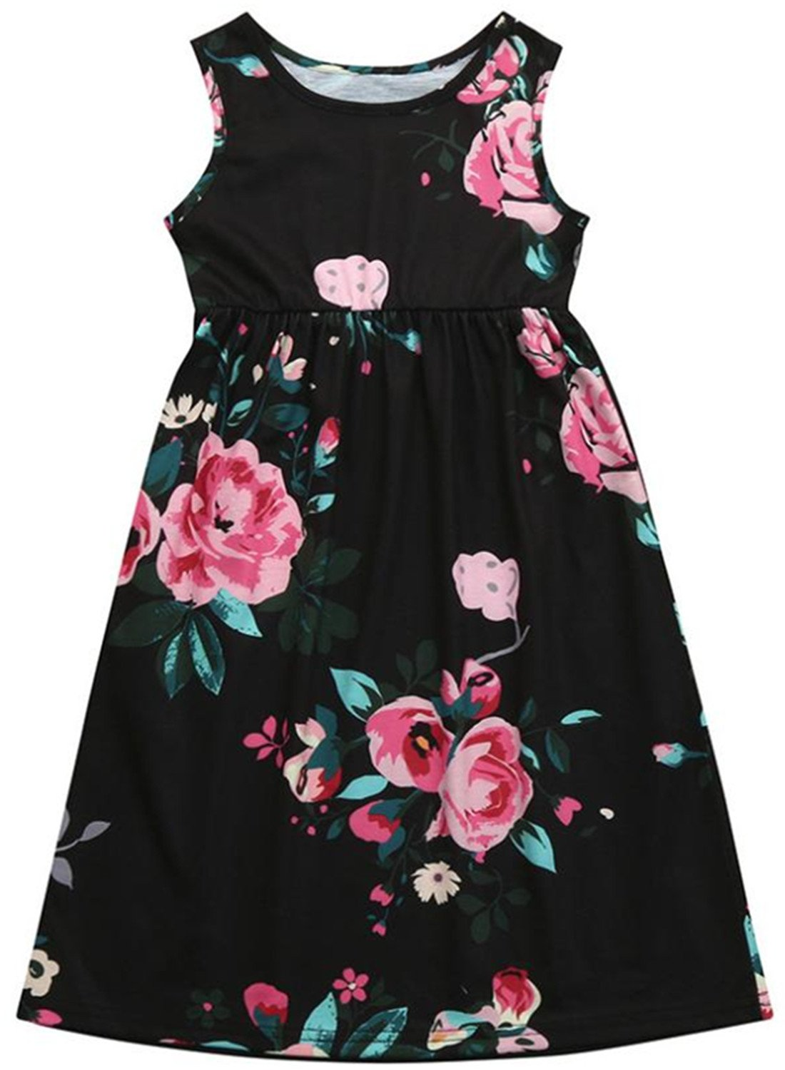 ZOFUNNY Girls Summer Floral Print Boho Casual Beach Sundress Sleeveless Long Maxi Dress with Pockets (Size 4-10 Years) (4-5Years/Tag 11/Ht43-45, Black)