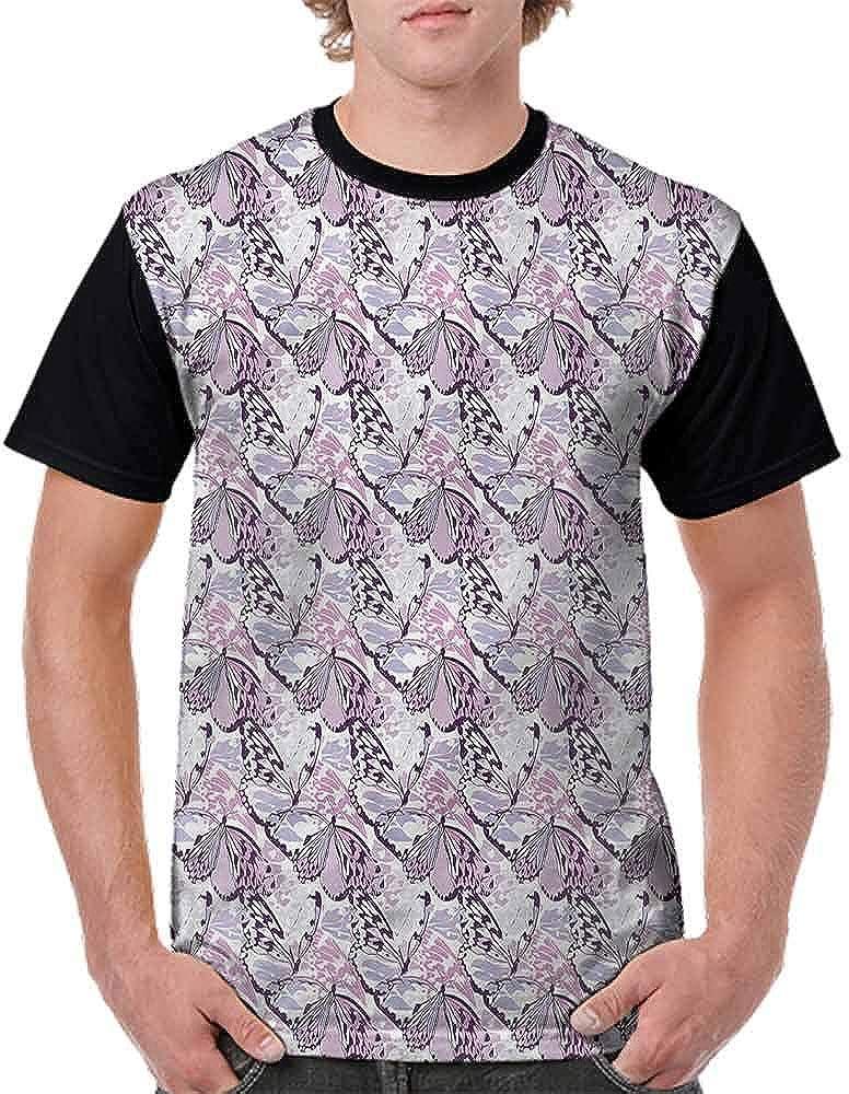 Round Neck T-Shirt,Purple Wings Camo Fashion Personality Customization