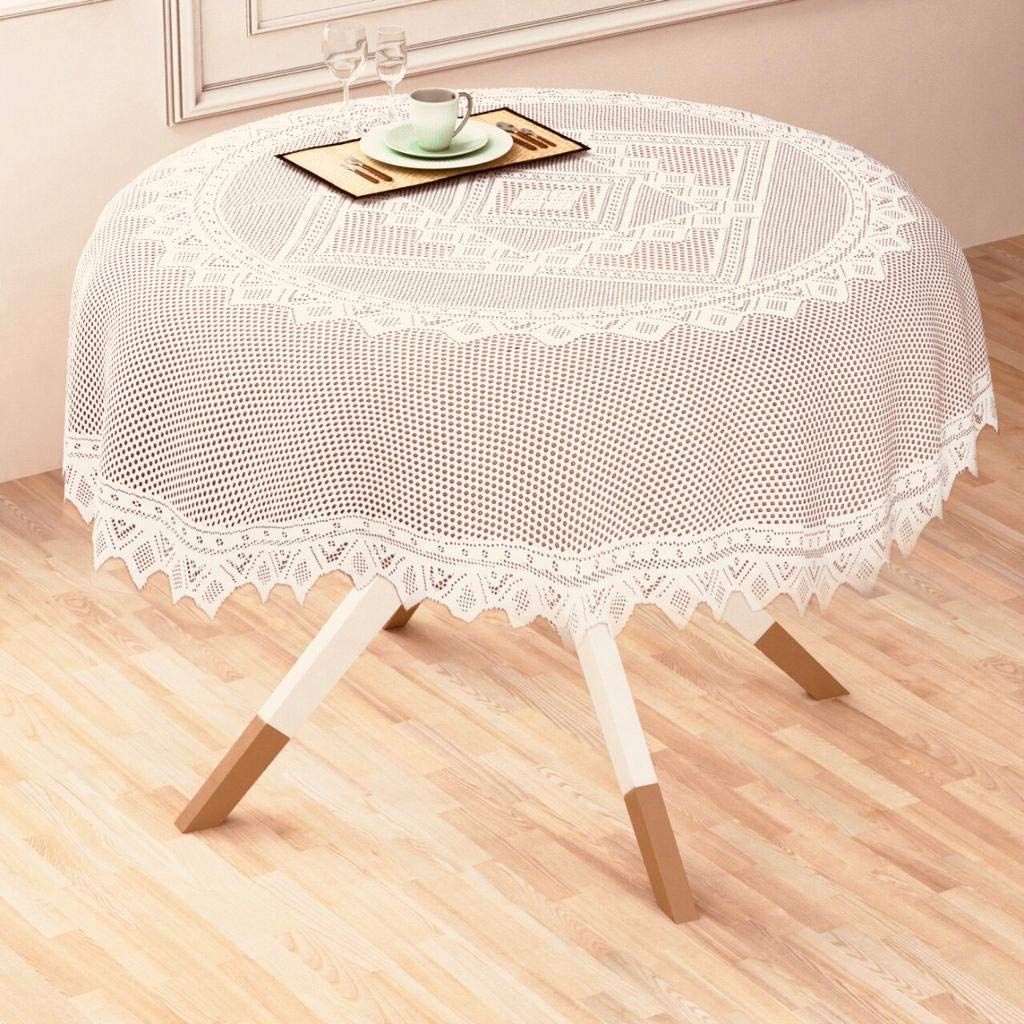Buy Style Your Home Round Dining Table Cover Size 72 Inch Or 182 Cm Cream 72 Inches Online At Low Prices In India Amazon In