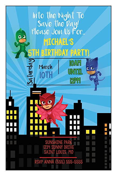 Amazon.com: The Melange Market Custom Birthday Party Invitation - PJ Mask - Skyline (20 Invitations envelopes): Toys & Games