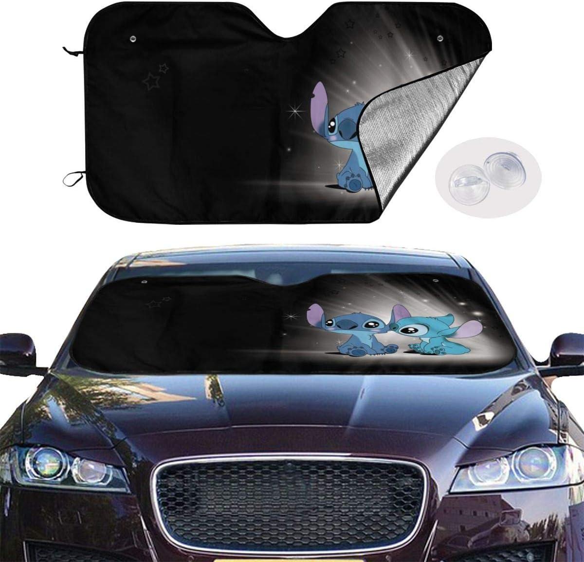 GFHTH Lilo Stitch Windshield Sun Shades Blocks UV Rays Sun Foldable Visor Car Universal Car Sunshades Shield Cover Protector with 4 Suction Cups 28x50 Inch