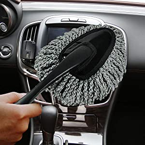 [2019 Upgrade] Wemaker Multi-Functional Car Dash Duster Interior & Exterior Cleaning Dirt Dust Clean Brush Dusting Tool Mop Gray car Cleaning Products Brand New (Gray)