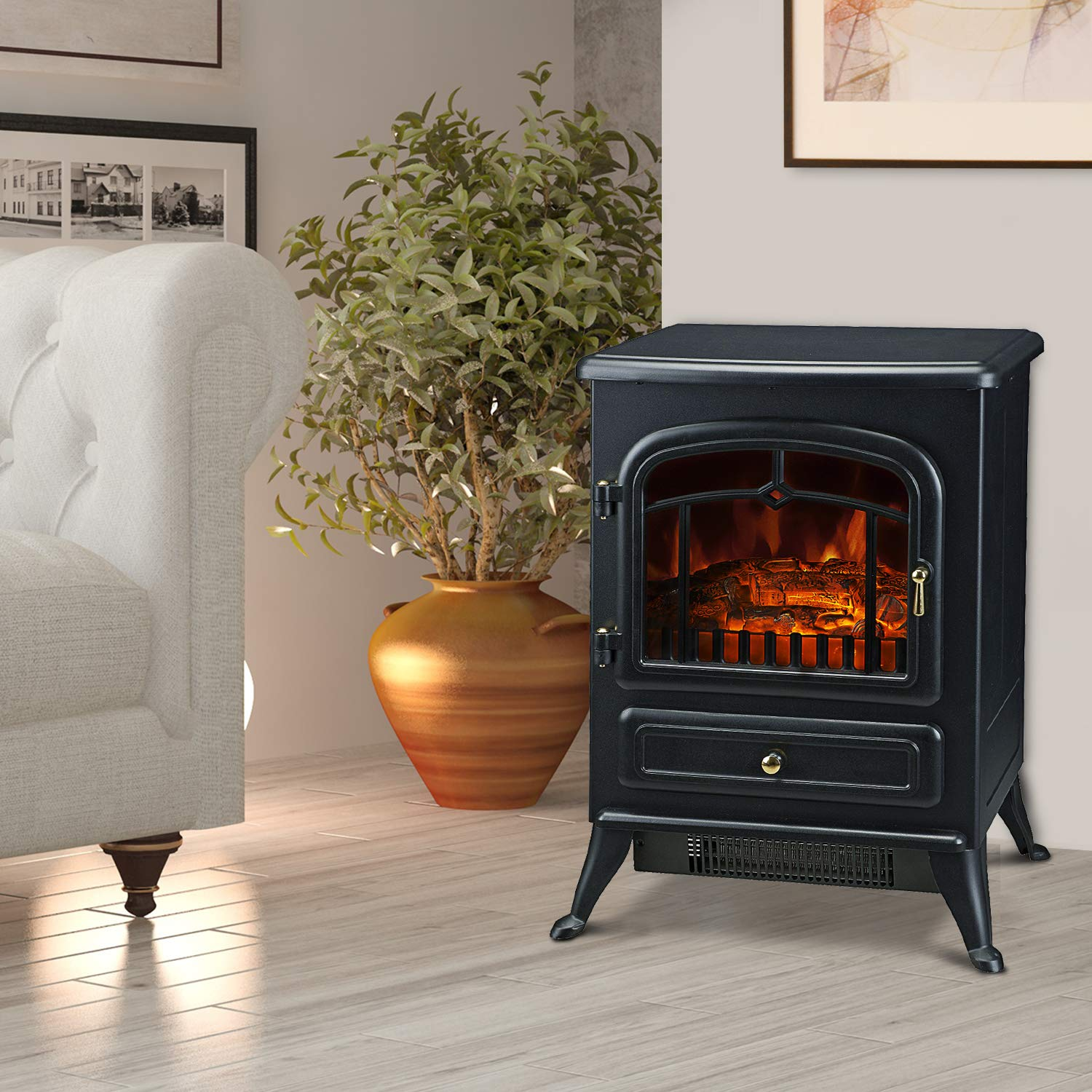 HOMCOM 21-inch H 1500W Compact Freestanding Electric Wood Stove Fireplace Heater With Realistic Flames, Black