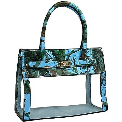 Amazon.com  Clear Transparent Tote Purse Beach Bag Handbag - Blue Cam  Shoes a41bd6ef8cd26