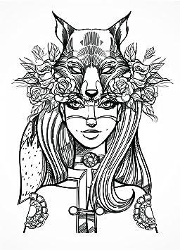 Le Loup Girl Detaillee Poster De Coloriage Pour Adulte 900 Mm X 1160 Mm Loisirs Coloriage Art Famille D Activite Amazon Fr Cuisine Maison