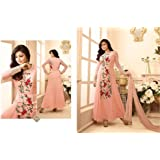ETHNIC PULSE Women's Georgette Anarkali Dress Material (EP0163, Peach, Free Size)