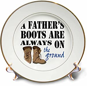 3dRose Image of Boots A Fathers Boots are Always on The Ground - Plates (cp_348610_1)