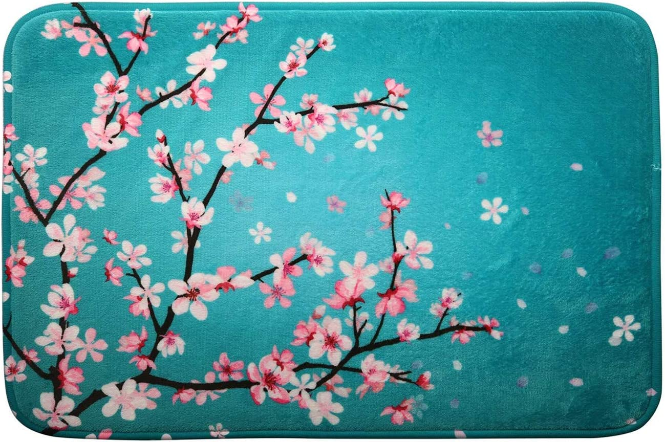 "Cherry Blossom Floral Memory Foam Bath Mat, Sakura Flowers Bathroom Decor Rug Shaggy Bathroom Floor Carpet Absorbent, Super Cozy Non Slip Machine Wash and Dry, 16"" x 24"", Teal"