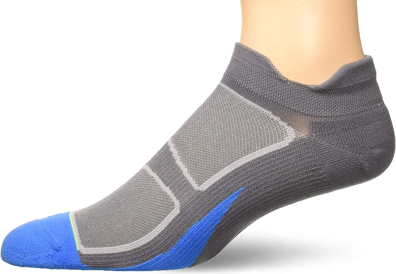 Feetures Elite Light Cushion No Show Tab Graphite-Brilliant Blue