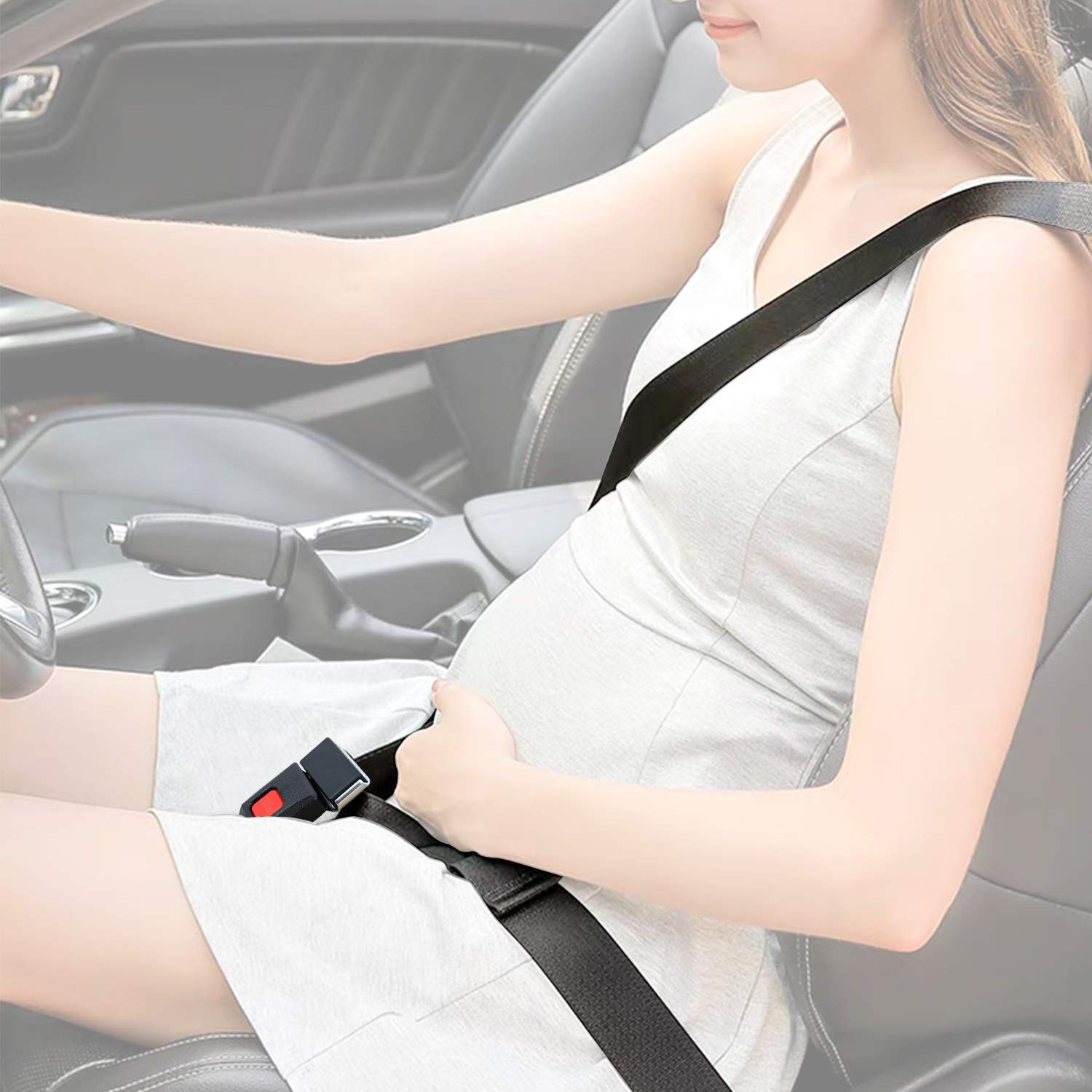 Maternity Car Belt Adjuster, TFY Car Pregnant Belt for Expectant Mothers, Comfort & Safety to Protect Unborn Baby - Black by TFY