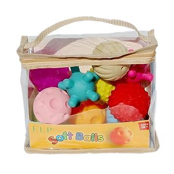 Tellaboull 10pcs Bolas Blandas sensoriales Suaves Bolas de Masaje de Mano del bebé con Efecto de Sonido BB agarrando Bolas Juguetes educativos para niños ...