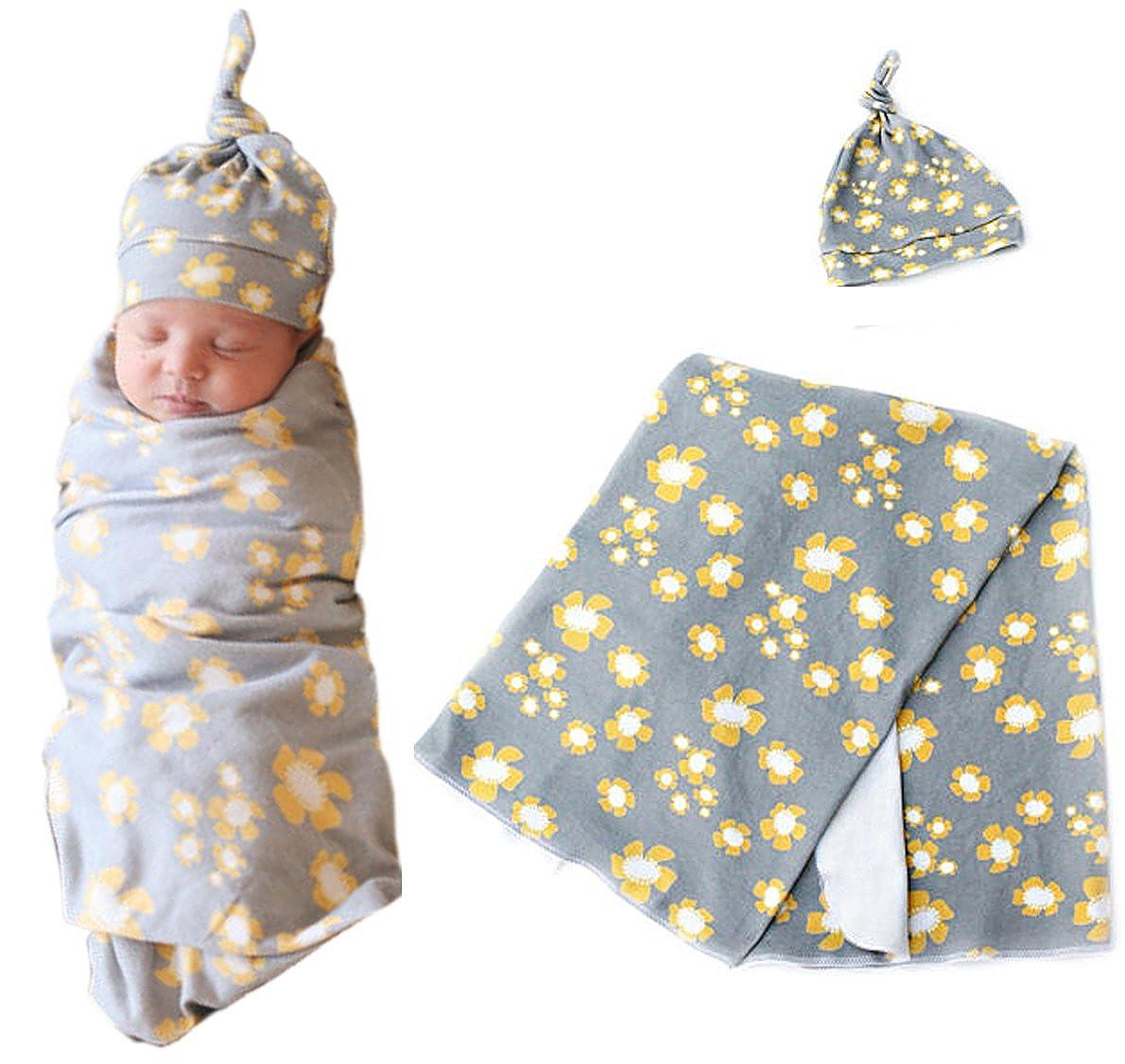 Chinatera Newborn Baby Girls 2pcs Daisy Flower Print Swaddle Infant Toddlers Bath Towel Wrap Sleeping Bag Receiving Blanket Cute Knot Hat Set