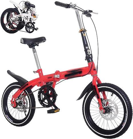 STRTG Bicicleta Plegable, Bikes Plegable Urbana,Marco De Acero De Alto Carbono, 16 * 20 Pulgadas Amortiguador portátil Boy Adultos y Chica de la Bicicleta de la Bicicleta Infantil: Amazon.es: Deportes y aire