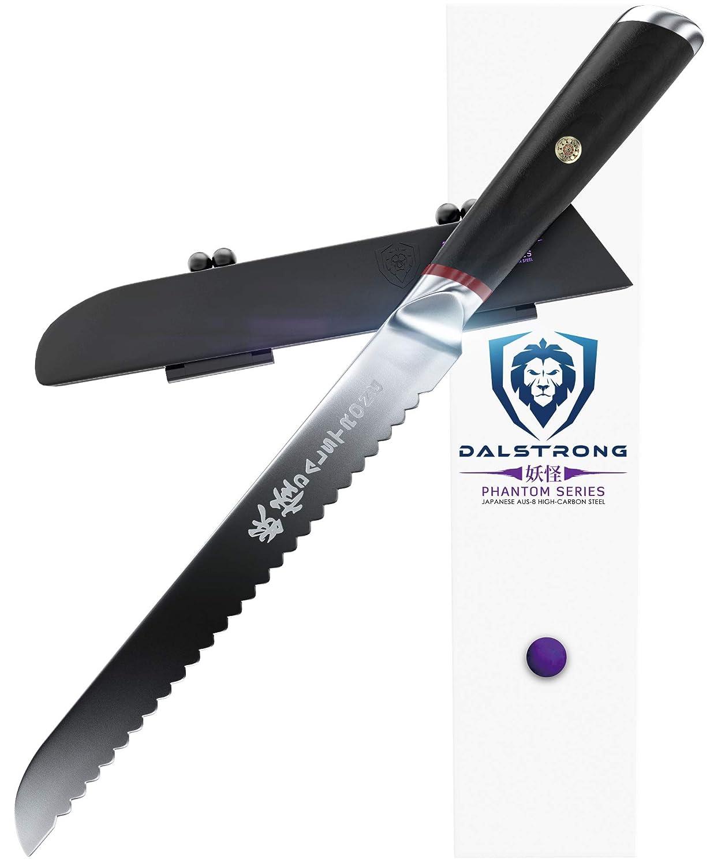 Cuchillo de pan de acero japonés AUS8 de DALSTRONG, mide 22,86 cm, cuenta con doble bisel, viene con la vaina protectora