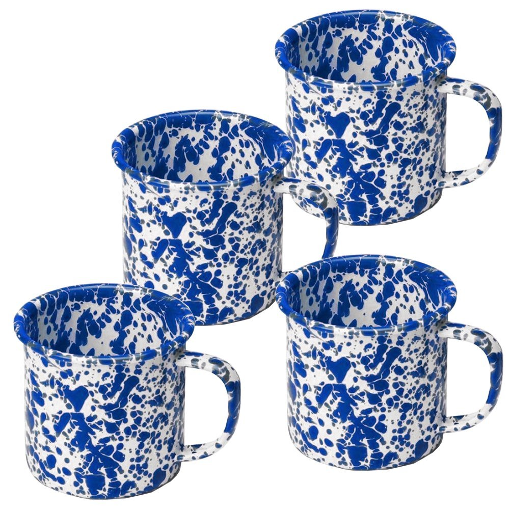 Enamelware Coffee Mugs - Set of 4 - Blue Marble
