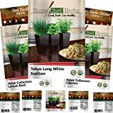 Home Chef Herbs Herb Seeds - USDA Organic ASIAN Collection Seeds Variety Packets by Non GMO Asian Seeds: Thai Basil Seeds, Garlic Chives, Tokyo Long White Scallion, Lemon Basil Plant, Cilantro Seeds