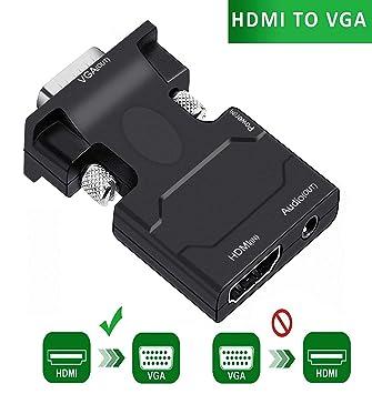 Adaptador activo HDMI hembra a VGA macho de 3,5 mm cable estéreo en negro especial para conectar Google Chromecast HDMI Streaming Media Player: Amazon.es: ...