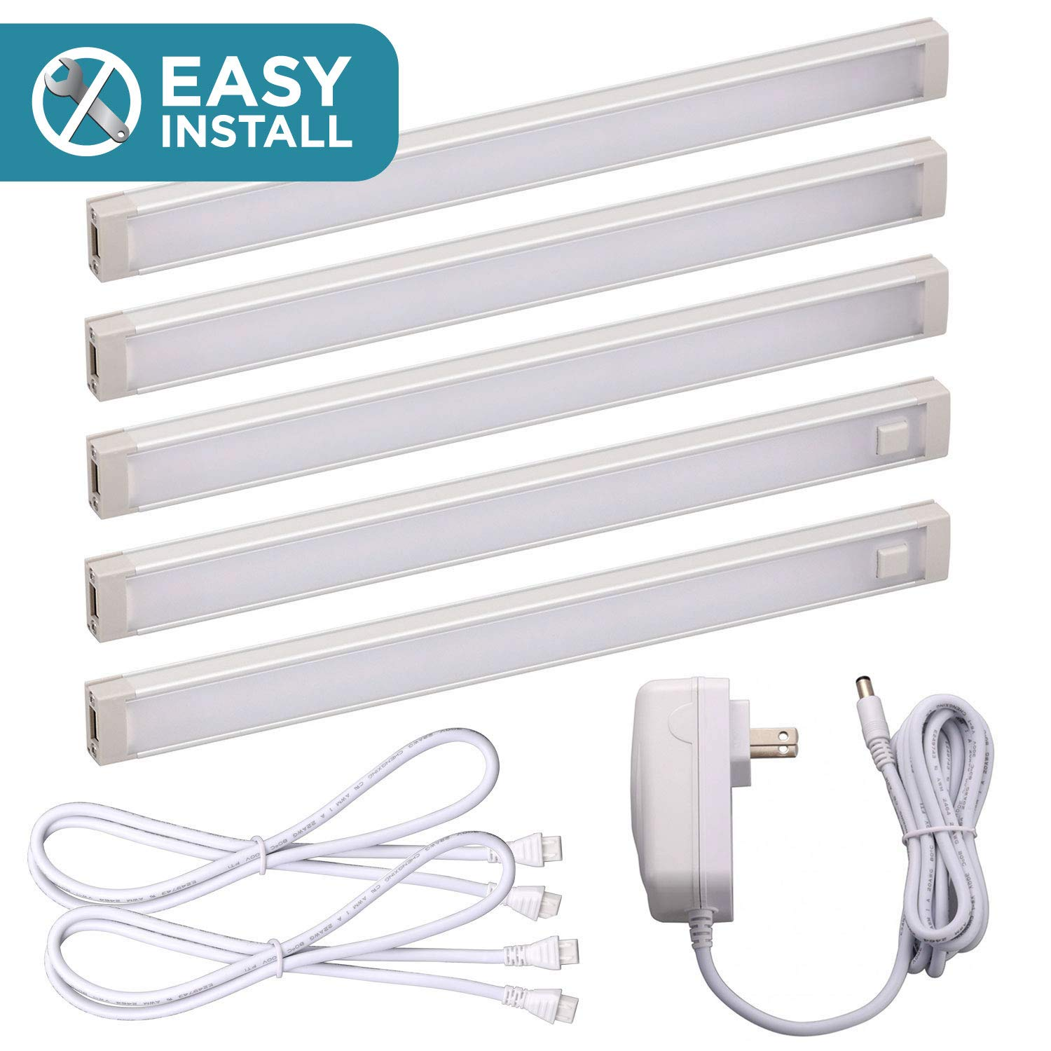 Black and Decker Office Products LED Under Cabinet Lighting Kit, 9'' Bars, Cool White (LEDUC9-5CK) by Black and Decker Office Products