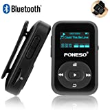 Lettore MP3 Bluetooth, Foneso Mini Sport MP3 da 8GB con Clip, Riproduzione Musicale 30 ore, Supporti FM e Registrazione, Nero