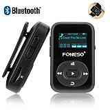 Bluetooth MP3 Player, Foneso 8GB Mini Sport MP3 mit Clip, 30 Stunden Musik Wiedergabe, Unterstützt FM und Aufzeichnung, Schwarz
