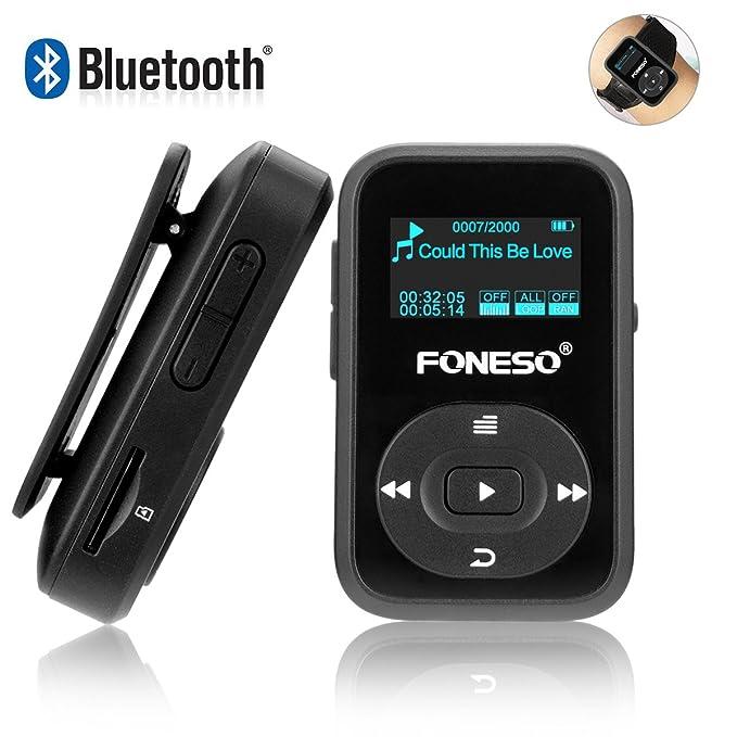 17 opinioni per Lettore MP3 Bluetooth, Foneso Mini Sport MP3 da 8GB con Clip, Riproduzione