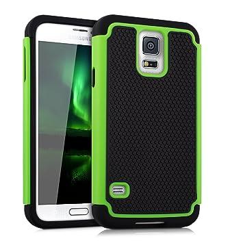 kwmobile Funda para Samsung Galaxy S5 / S5 Neo - Carcasa Protectora híbrida de TPU - Cover Trasero en Verde/Negro