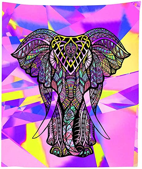 Simsant Elephant Tapestry Thicken Flannelette Large Wall Hanging Colorful Wall Blanket Psychedelic Wall Decor Purple Multicolor,84x90inches 213.3×228.6CM SILX010