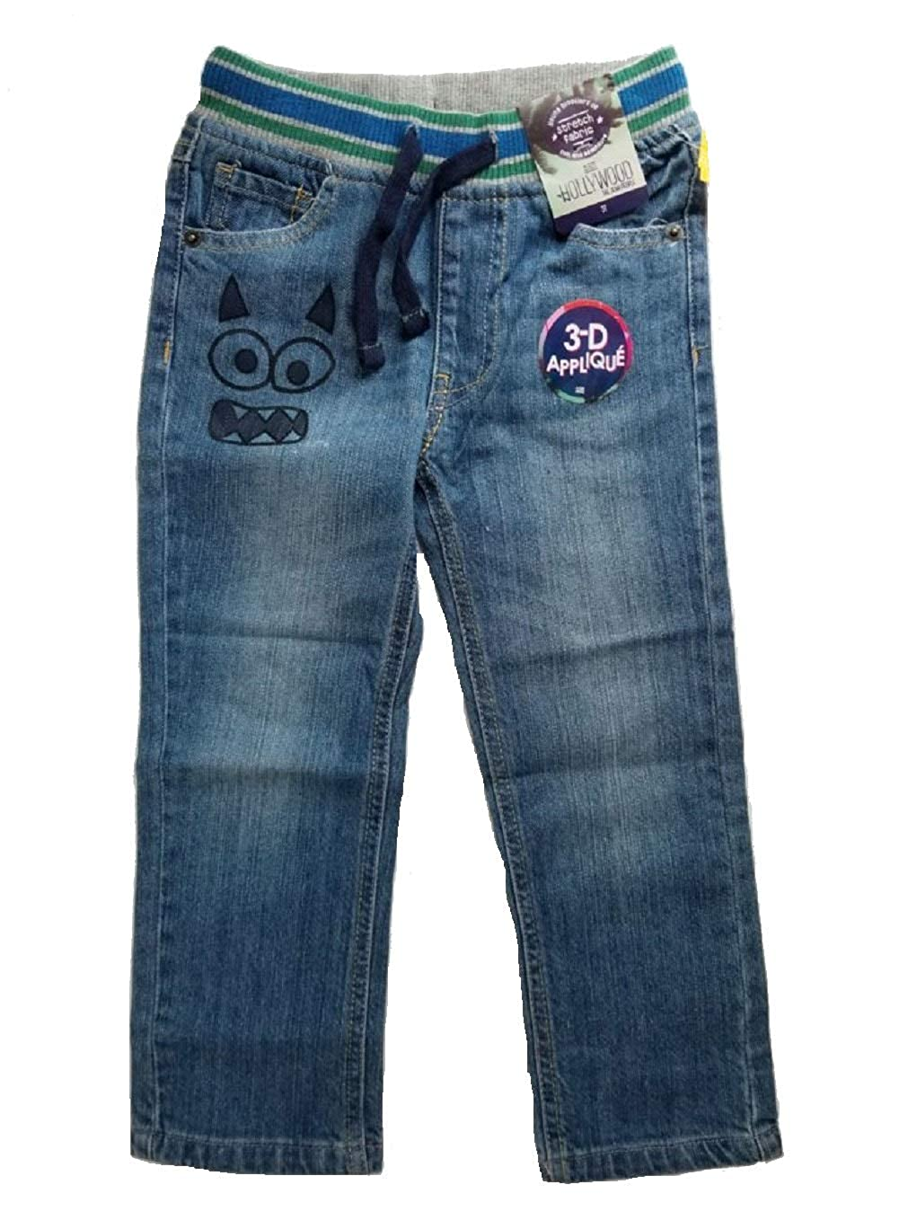 Holly Wood Stitch Fix Kids 3-D Applique Pull-on Jeans Front Pockets Blue