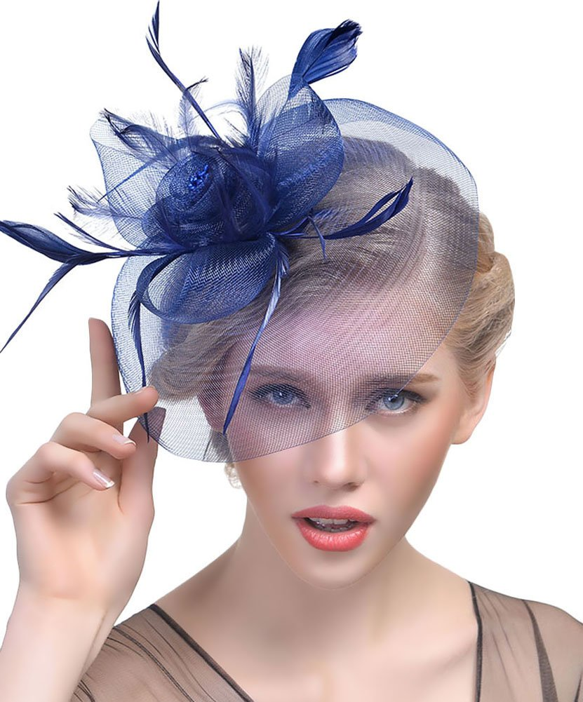Urban CoCo Women's Elegant Flower Feather and Veil Fascinator Cocktail Party Hair Clip Hat (Series 4-Navy)