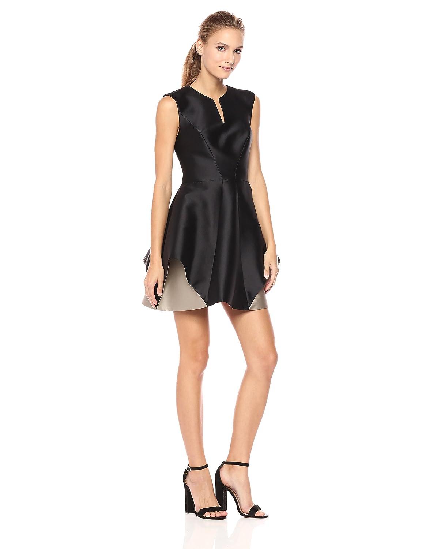 Black Champagne Halston Heritage Womens Cap Sleeve Notch Neck color Blocked Dress