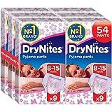 Huggies DryNites Mutandine assorbenti per la notte, per bambine e ragazze, 8-15 anni, 6 confezioni da 9 pezzi