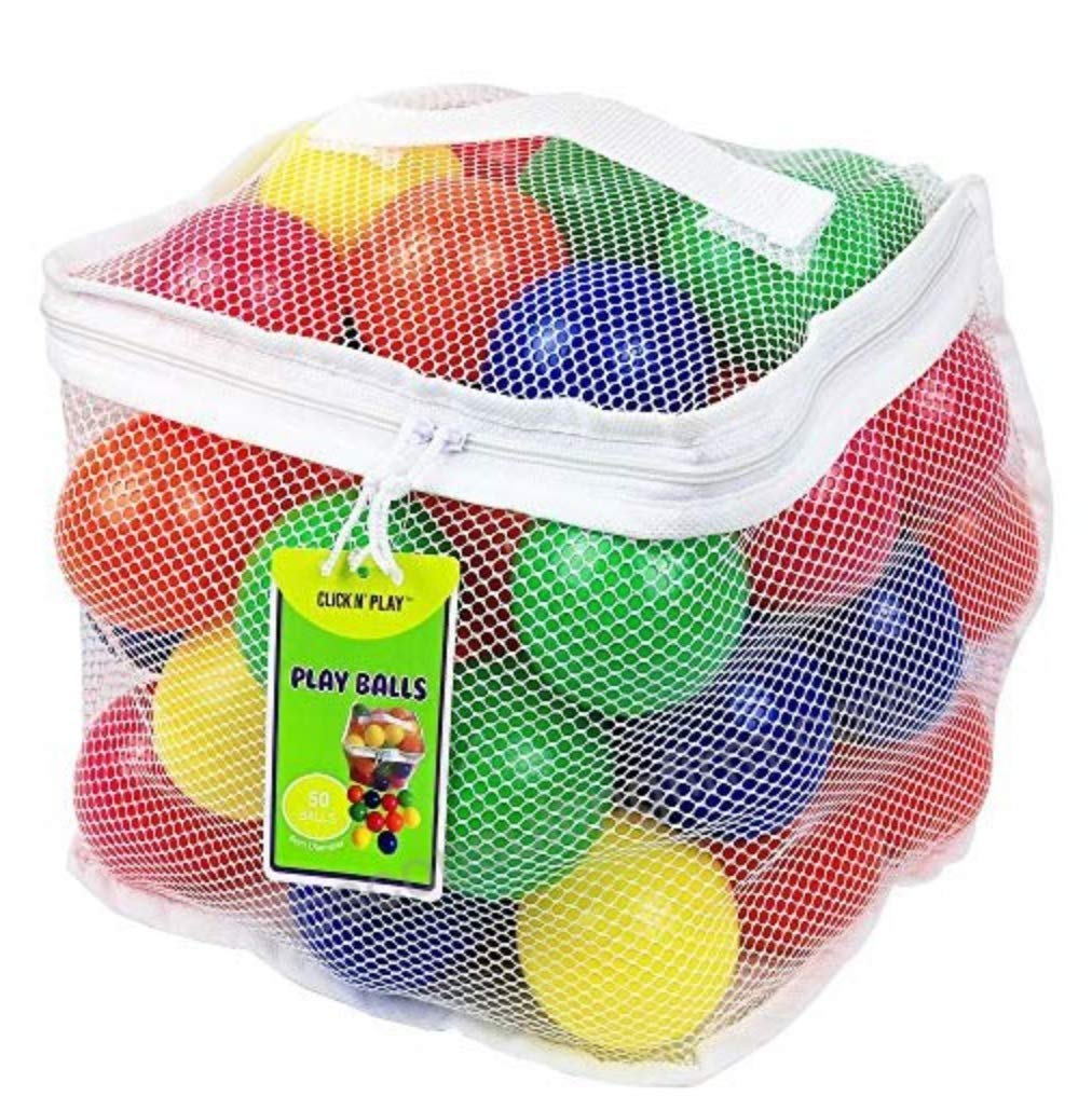 Click N' Play CNP30336 Phthalate Bpa Free Crush Proof Plastic Pit Balls, 6 Colors, 50-Pack Click N' Play