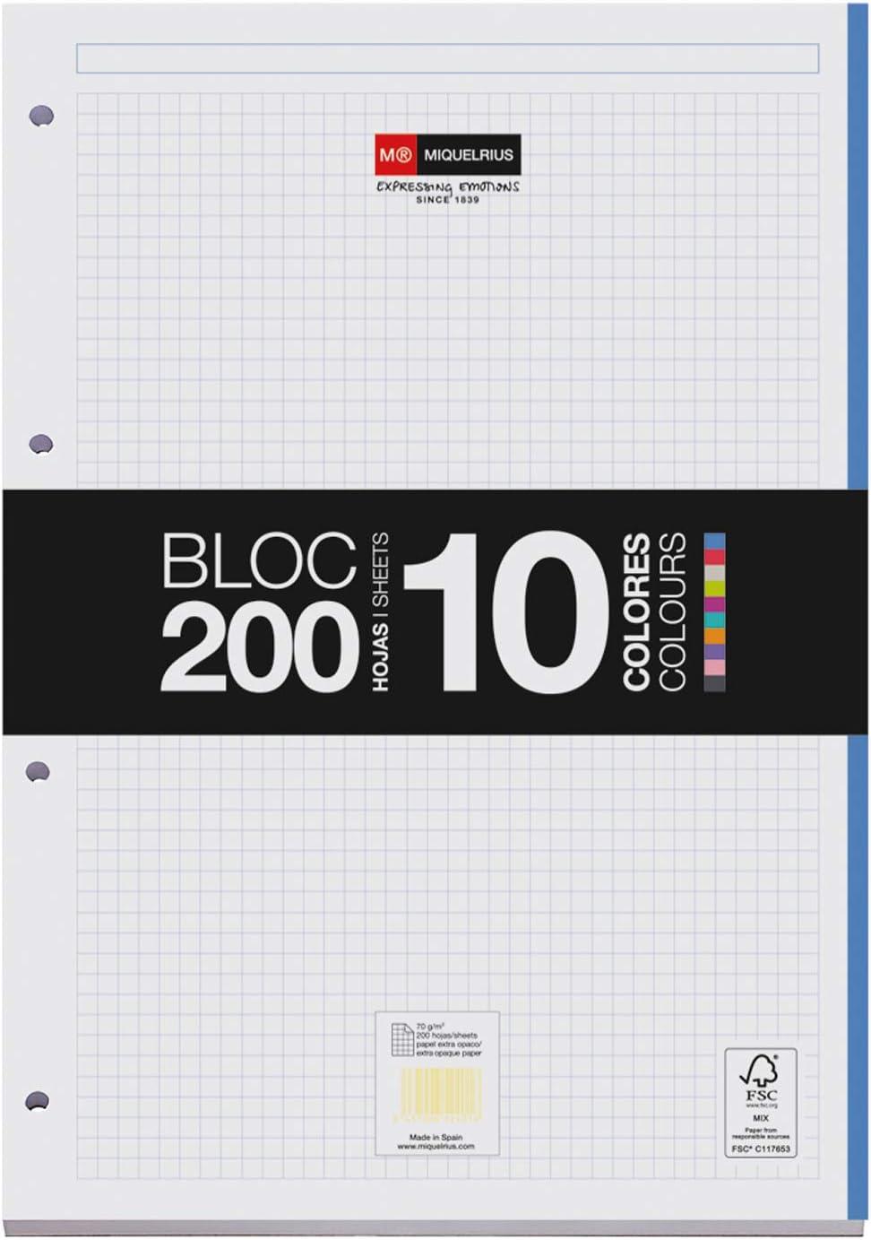 Miquelrius Bloc Recambio 200 hojas 10 colores, cuadrícula 5 mm. papel de 70 gr