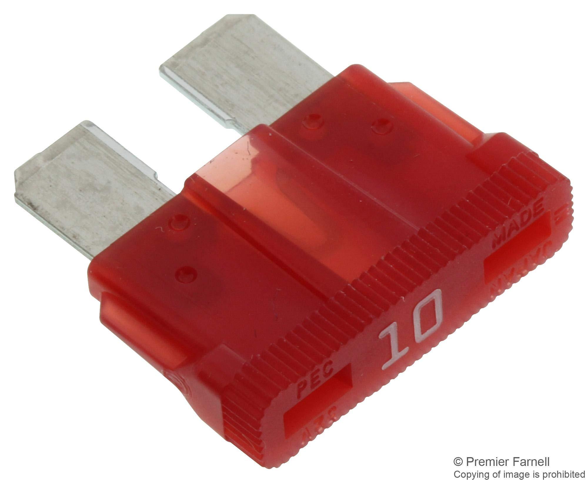 BK/ATC-10 - Fuse, Automotive, Fast Acting, 10 A, 32 V, 19.1mm x 5mm x 19mm, ATC Series (BK/ATC-10) (Pack of 50)