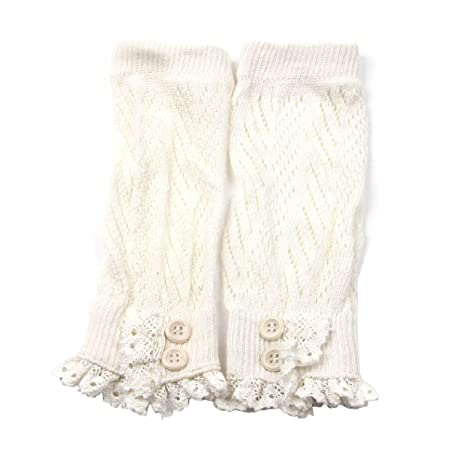 Damen Stulpen Häkeln Stricken Cotton Lace Trim Stulpen Boot Stulpen